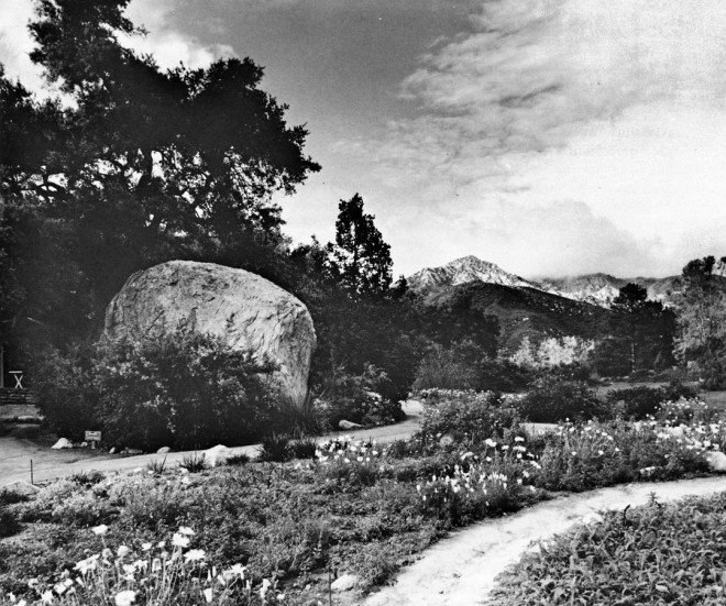 Meadow section looking towards La Cumbre Peak of the Santa Ynez Mountains. The Blaksley Boulder is prominent. Photograph by Bob Werling.