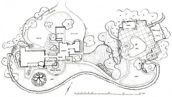Plan of El Novillero drawn by Michael Laurie for the second and revised edition of Gardens are for People, by Thomas Church, to be published by McGraw-Hill.