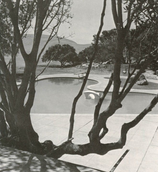 Looking towards the hills over Church's pool and Kent's sculpture. Photograph by Rondal Partridge.