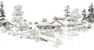 Architect's impression of the new entrance and education building at Descanso Gardens.