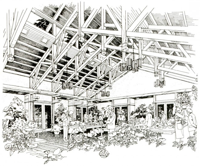 An impression of the interior of the new building and its lofty ceiling.