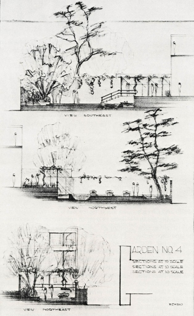 Garden No. 4. These sections of a townhouse garden, prepared about 1937, were preliminary sketches for Eckbo's article, Small Gardens in the City. In the published line drawings the spontaneity of these pencil sketches is lost, but the imaginative shaping of three-dimensional space is preserved. Illustrations provided by Garrett Eckbo except where noted.
