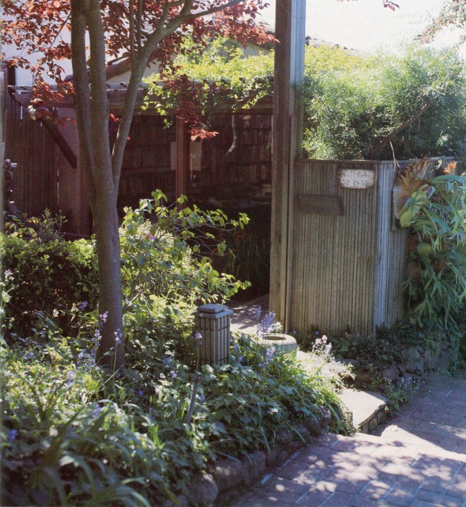 """Entry to Eckbo's studio in the Berkeley hills. Photograph by the author. """"I have been accused of using too many kinds of plants,"""" Eckbo observes. He delights, however, in compositions of varying forms, colors, and textures. The entry to his studio is embowered with staghorn ferns, fern pine, violet trumpet vine, and purple-leaved plum."""