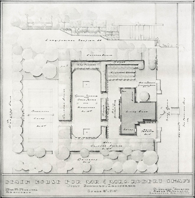 Undated plan by Eckbo's teacher, H.L. Vaughan, and his wife, Adele Vaughan, for a beach house at Point Richmond. Photo courtesy of Department of Landscape Architecture, University of California, Berkeley. This plan and section, completed sometime after 1933, show a small-scale residential project typical of California landscape practices in the pre-war and early post-war eras. Within a subtly asymmetrical layout, the Vaughans provided spaces for playing, gardening, and gazing out across San Francisco Bay.