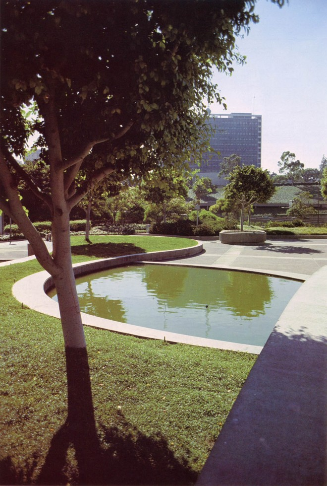 Union Bank Square, Los Angeles, 1964 (Office of Eckbo, Dean, Austin, and Williams.) View within Union Bank Square, one of Eckbo's finest fantasies in water, concrete, and greenery. The trees here are ficus; the ground cover is dichondra.