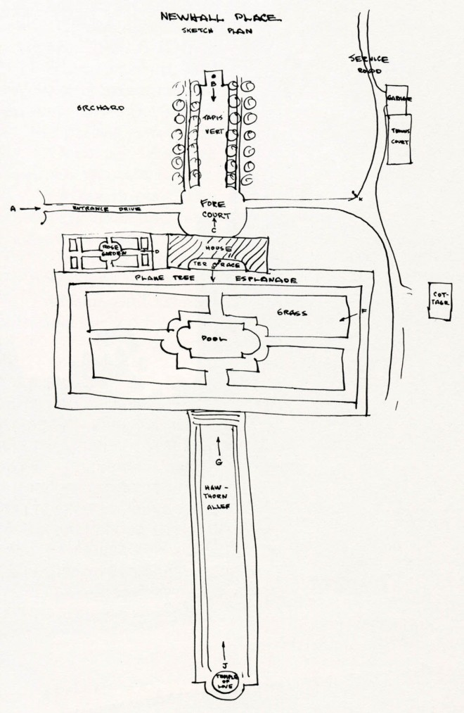 Newhall Place sketch plan. This sketch plan of Mrs George A. Newhall's residence in Hillsborough was prepared for the notebook Eckbo compiled while an undergraduate at Berkeley. His photographs of the estate show a symmetrical, two-story house of eighteenth-century French design, commanding vistas on three sides.