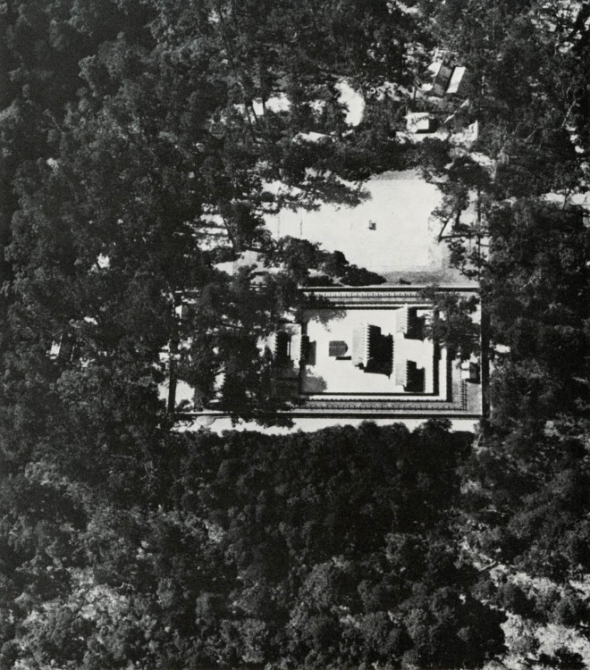 To establish a sense of place in the forest, the primary act is to clear within the figure of a rectangle. Next the forest floor is lined with gravel. Ise Shrine, rebuilt every twenty years, more or less in the same configuration, since the fifth century. Photograph by Yoshio Watanabe from Ise: Prototype of Japanese Architecture, © MIT Press, reproduced with permission