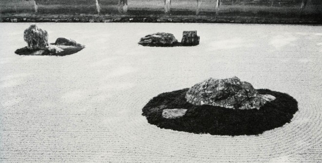 Silence is created through simplification; focus, by framing. The importance of the void equals that of the forms of the rocks. Ryoan-ji, Kyoto