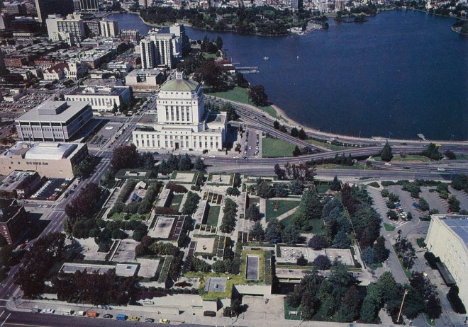 Oakland Museum roof gardens, with Alameda County Courthouse and Lake Merritt beyond. Photograph by Joe Samberg courtesy of the Oakland Museum