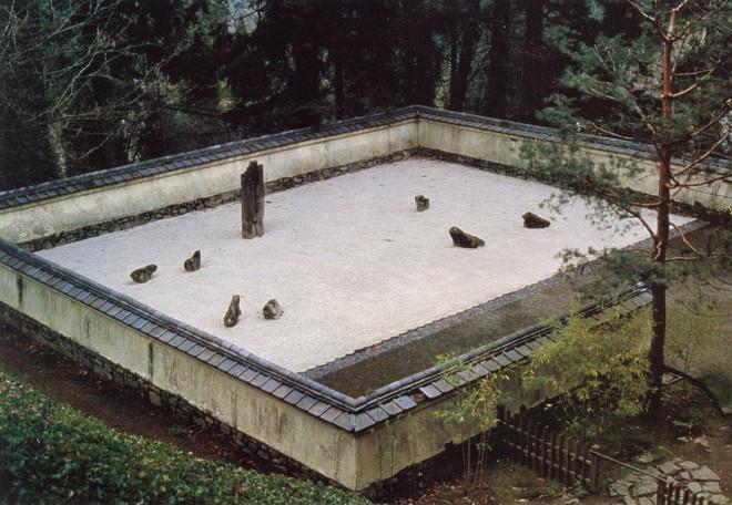 Zen garden of stones and sand, Kare sansui, at Portland's Japanese garden. Author's photograph