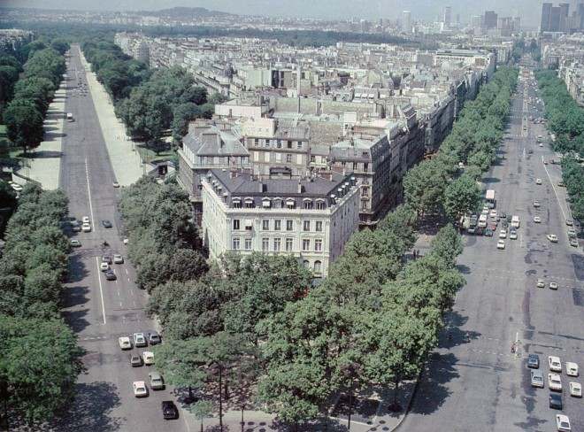 Tree-lined boulevards from the Arc de Triomphe, Paris