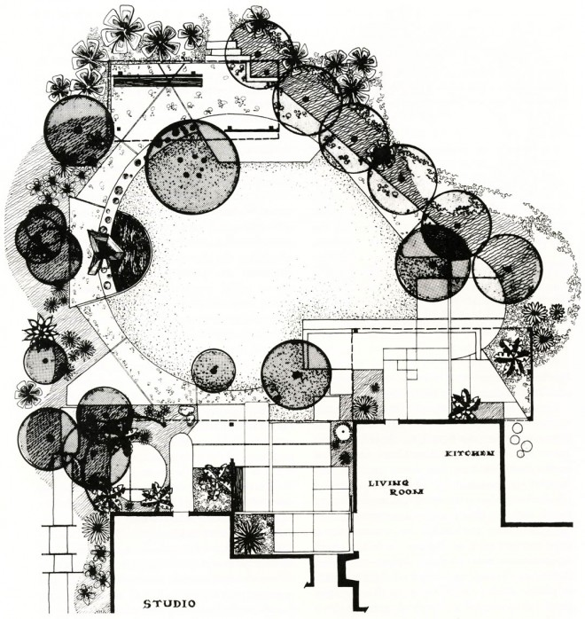 Plan of experimental garden in southern California by Garrett Eckbo for the Aluminum Company of America