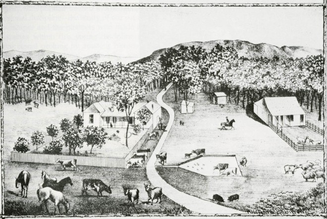 "Early landscape alterations in California are the result of Spanish farming and ranching, depicted in this 1883 lithograph of Rancho Estudillo, in San Diego County. Old ""mug"" books, so called because they contained portraits of early settlers, are choice sources of horticultural data. Photograph courtesy of Riverside Museum Press"
