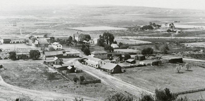 Changes in the landscape came to drier areas of the state slowly at first. In this turn-of-the-century photograph of San Diego's Old Town, southern California hills, left little altered by early Hispanic settlers, show sparse planting added by Yankee newcomers. Photograph courtesy of the San Diego Historical Society
