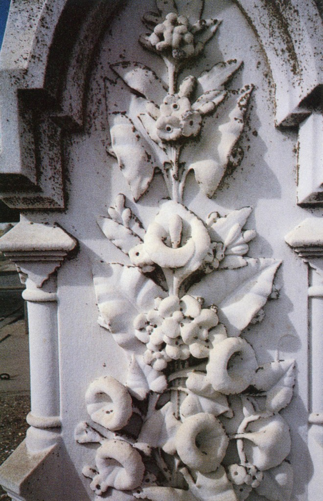 Captured in marble, the best loved flowers of an earlier time speak in a nearly lost language of symbolism to perpetuate sentiments unfamiliar to us. Headstone dates help garden historians identify the fashions of successive generations. Author's photograph