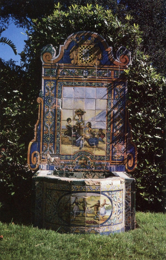 Often overshadowed by later alterations, original parts of famous garden estates reveal period preferences in style. At Lotusland, formerly called Cuesta Linda, in Montecito, the vogue for Spanish decor is expressed in tile by local architect George Washington Smith. Author's photograph
