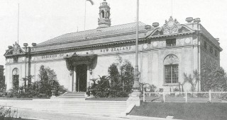 The New Zealand Pavilion at the 1915 Panama Pacific International Exposition. Photograph courtesy of The Bancroft Library