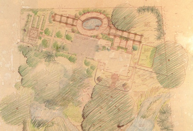 Preliminary plan for the Tanfani garden. Drawing and design by David Yakish