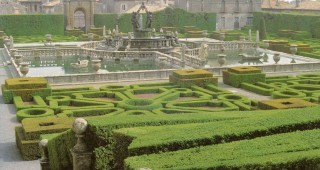 The elaborate fountain and intricately shaped hedging at Villa Lante, a Renaissance garden north of Rome. Author's photographs, except as noted