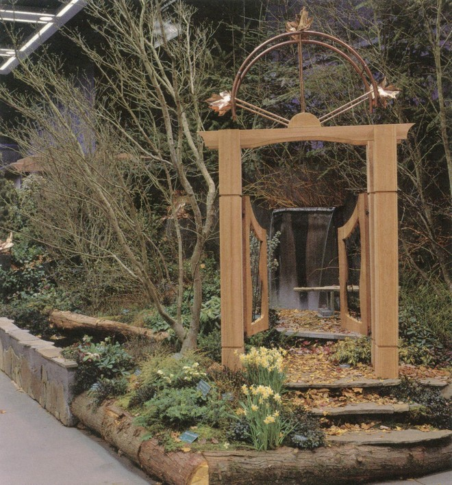 """A wooden portal into a secluded retreat in """"The Woodland"""" at the Northwest Flower & Garden Show. Photograph by David McDonald"""