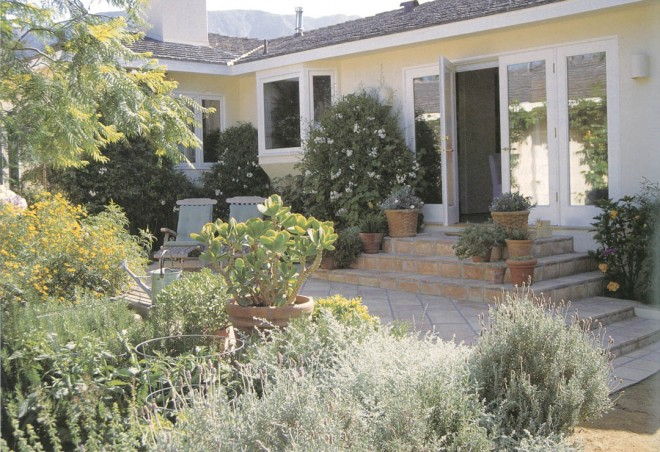 A contemporary interpretation of a Mediterranean courtyard garden, enclosed with walls, paved to save water, furnished for livability, and planted to provide color without excessive water. (Nancy Goslee Power garden, Santa Barbara). Author's photographs