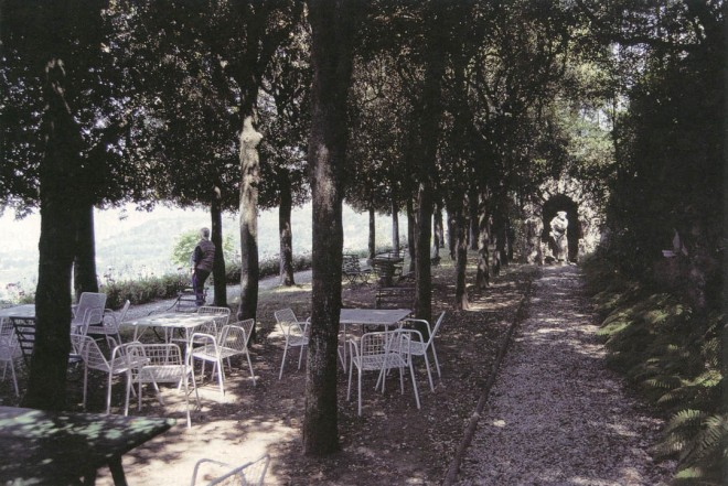 A bosque of trees shades a terrace in summer; its southern orientation collects the warmth of the winter sun, making it usable year-round. (Villa le Balze, Italy)