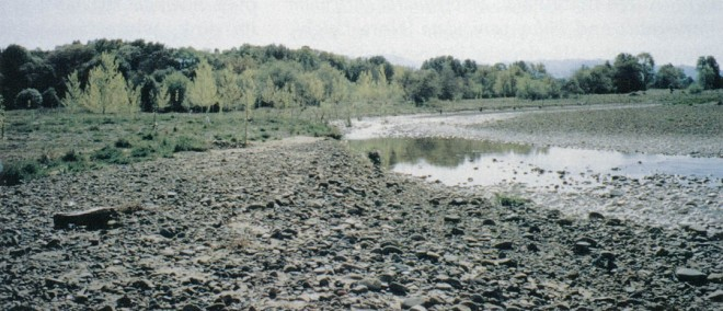 An unnaturally broad, gravel riverbed defined Anderson Creek along the author's property, prior to his river work. Author's photographs