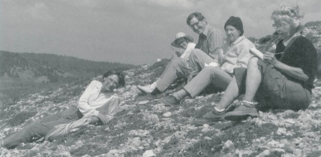A small group from a 1986 Pacific Horticulture wildflower tour take a break from crocus-seeking on a hillside near Lake Abant, Turkey. Left to right: Betsy Clebsch, Alice Nicholson, George Waters, Jane Minshall, and Helene Dick. Photograph by Barbara Schieck