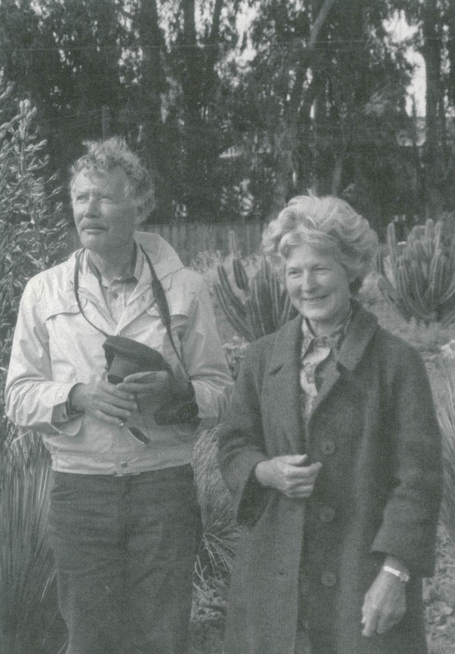 Lester Hawkins with Ruth Bancroft in her Walnut Creek garden of succulents. Lester contributed to the design of the garden. Photographer unknown