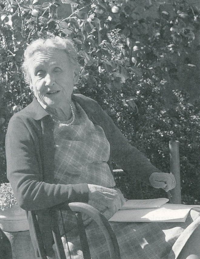 Elizabeth de Forest in her Santa Barbara garden. Author's photograph