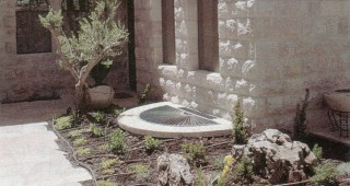 A view of the entry courtyard in the Friedman garden in May 2000, shortly after planting and before mulching. The Jerusalem limestone gives continuity to the garden, even in its first month. Author's photograph