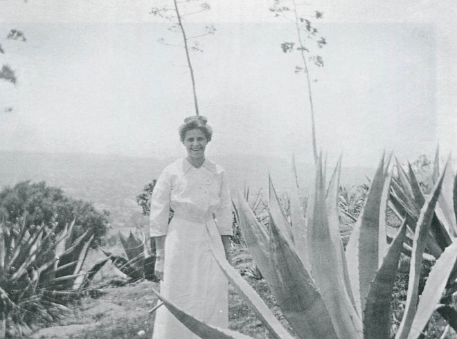 Dorothy Redfield Fenzi, Franceschi's daughter-in-law, standing in what was most probably the Agave section of his botanical garden at Montarioso