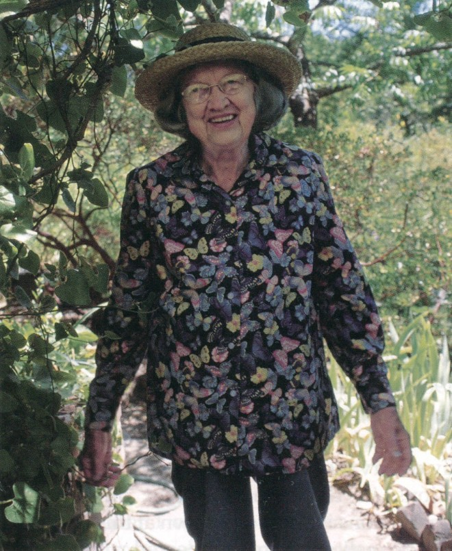 Louise Hallberg with California Dutchman's pipevine (Aristolochia californica)
