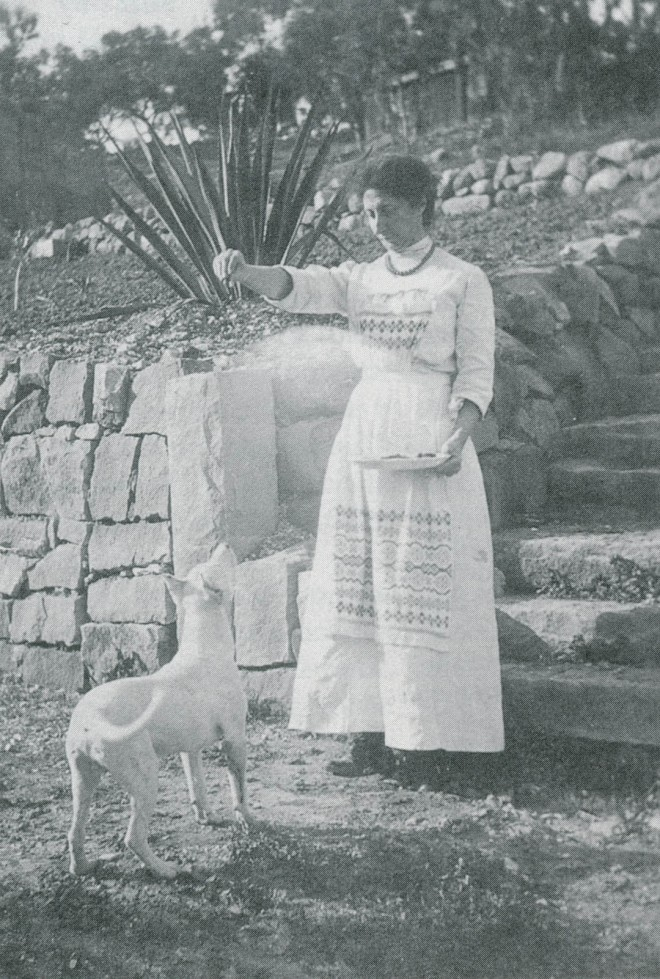 Ernestine Fenzi Franceschi at Montarioso in 1912; the stone wall and steps exist today in Franceschi Park. Photograph s courtesy of Warren E Fenzi collection, unless otherwise noted