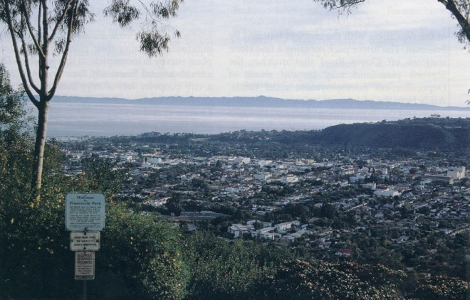 Franceschi's wife purchased Montarioso, and he promptly wrote of its splendid views, still a feature of Franceschi Park today, with Santa Barbara laid out below and a hazy Santa Cruz Island in the distance. Photograph by RGT