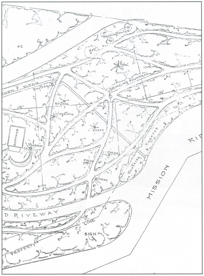 WPA plan for Franceschi Park, approximately 1936. Author's photograph
