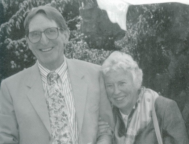 George and Olive Waters in June 1997 at a Friends Garden Party celebrating his retirement as editor of Pacific Horticulture. Photograph by William R Moore