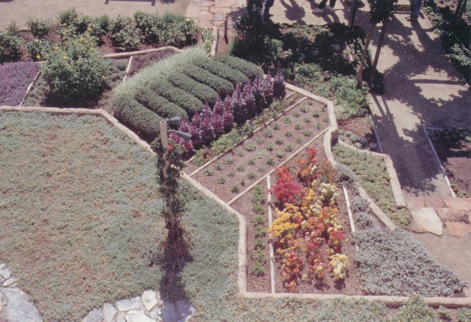 Fields of crops provided the image for some of the terraces at the Valentine garden. Photograph by RGT
