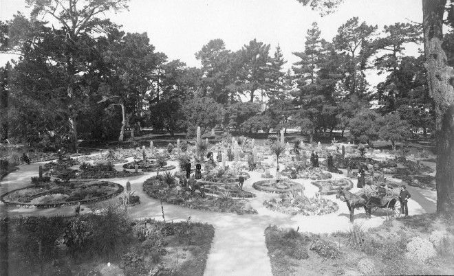 Historic view of the entire Hotel del Monte Arizona Garden in Monterey. Photograph by Isaiah West Taber