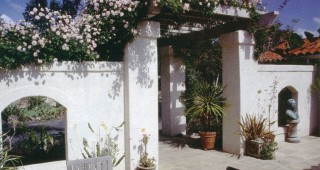An extension of the house, the entry courtyard is paved with the same tile as inside the house; Rosa 'Cecile Brunner' rambles over the pergola. Author's photographs
