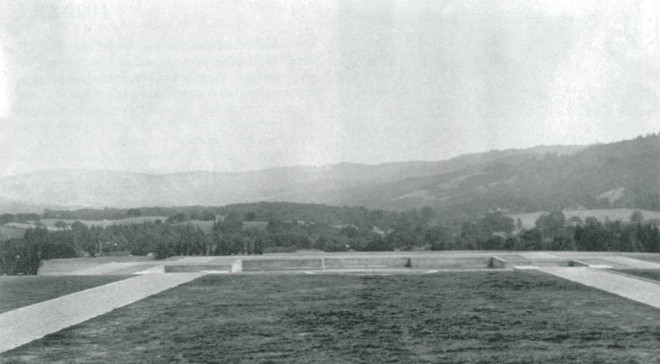 A view over the turf parterre and lily pond to the Santa Cruz Mountains, ca 1916. Photograph courtesy Environmental Design Archives, UC Berkeley