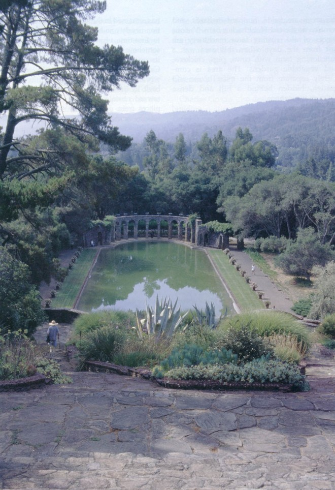 A view of the Roman Pool and the Santa Cruz Mountains from the lily pond terrace