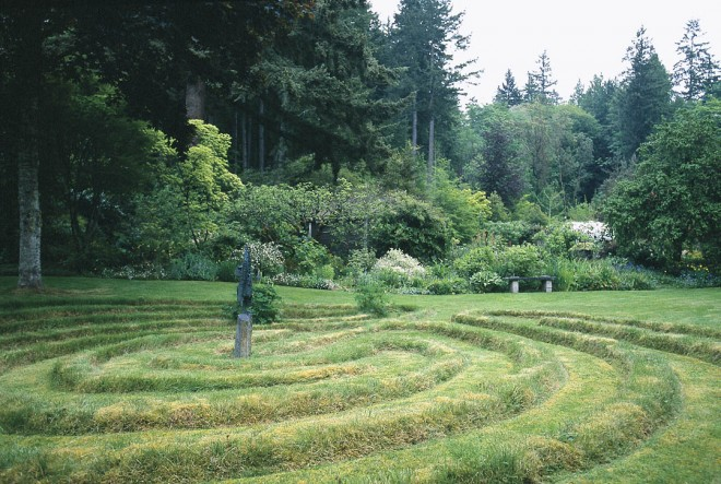 Anne converted a soccer field, once used by her children, into a spiral labyrinth for her parish friends. The walking path is exactly the width of the lawnmower, revealing the designer's pragmatic streak.
