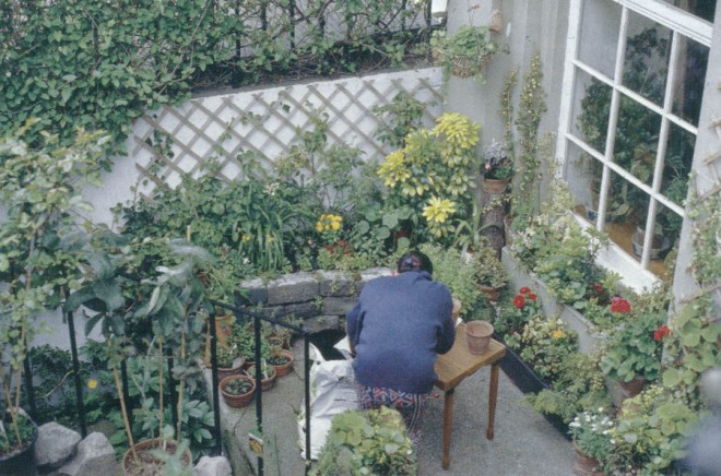 The tiny garden of an urban apartment—spatially restricted, but the mind roams freely