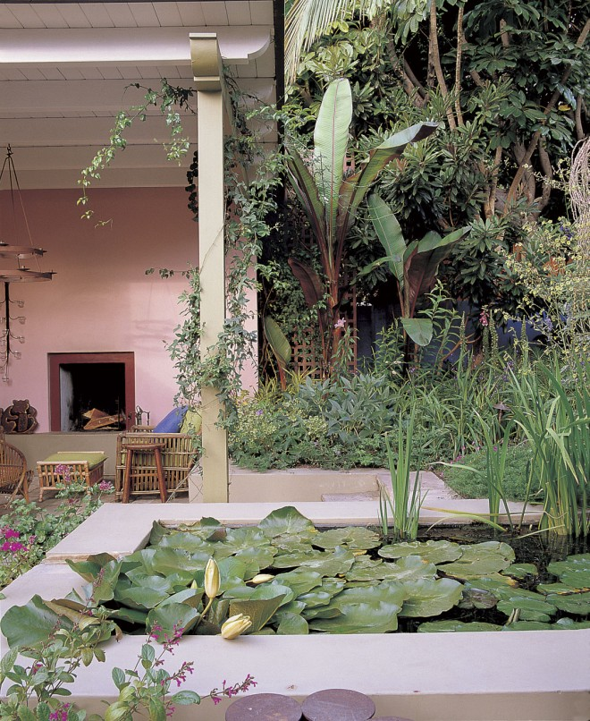 Bold foliage of subtropical plants fill the planted areas in the rear garden and contrast with the pastel colors of the sitting area walls