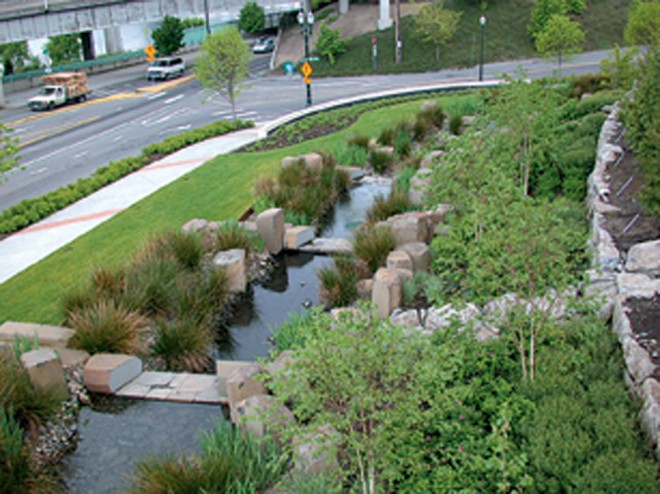 A portion of the rainwater garden, which collects rainwater from the roof of the Portland, Oregon, Convention Center; the water is slowed down and allowed to percolate into the ground, rather than being shunted into the city's sewer system