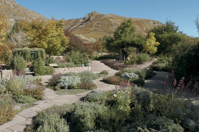 The Fragrance Garden tucks up against the foothills of the Wasatch Mountains. Photographs by Eric Schramm