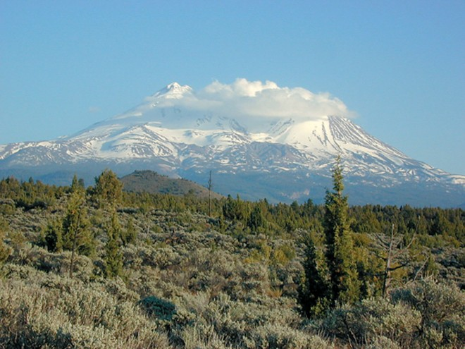 The ultimate in Wild Western landscapes: snow-covered Mt Shasta towers over lower hills where the pervasive fragrance of juniper mixes with sagebrush and several species of pines. Author's photographs