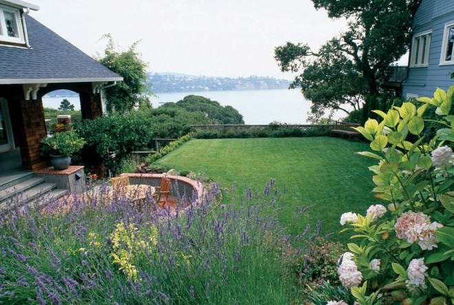 View from highpoint of garden across lawn to newly realized view of San Francisco Bay. Photographs by Saxon Holt, except as noted - See more at: http://www.pacifichorticulture.org/articles/the-foundations-of-lees-garden-topography-fractals-and-planting-design/#sthash.v5SmPn11.dpuf
