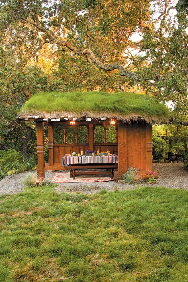 Sod roof in Woodside, California. Photograph by William P Wright, from Stylish Sheds and Elegant Hideaways (see page 12); design by Planet Horticulture